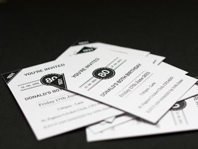 Invites invites print paper bw birthday a6 300gsm