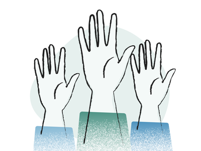 Raise your hand! texture lines flat illustration