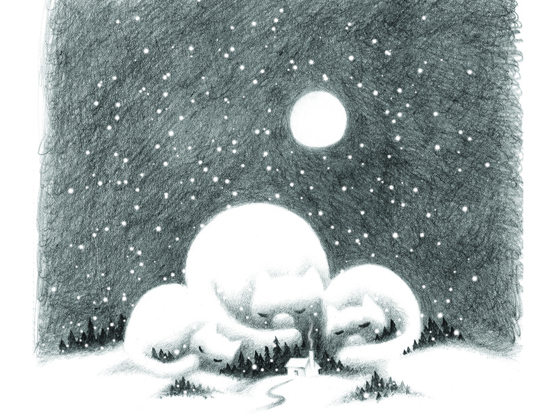 Catmountain night moon winter snow holiday pencil drawing cat fantasy illustration