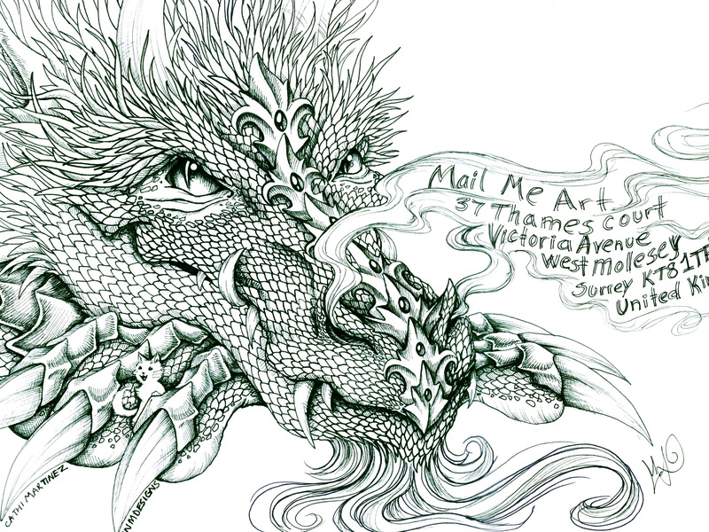 Mail Me Art competition mail ink cat dragon drawing fantasy illustration