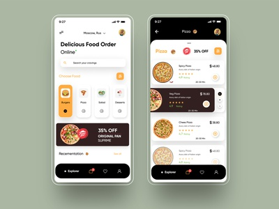 Food delivery Ui food web illustration app typography vector ui ux branding