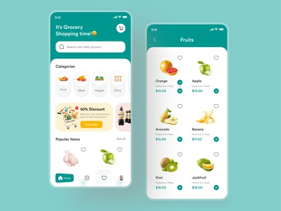 Grocery Shopping App green ui green color mobile ui mobile grocery shopping app grocery shopping app grocery app food app minimal ui design