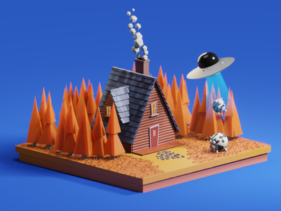 UFO lowpoly3d lowpoly animal house village lesson 3d modeling 3d art 3d