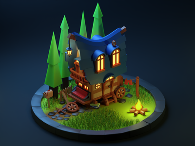Wagon wagon cycles 3d art blender 3d isometric isometry