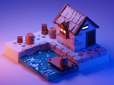 River cabin wood water exterior cycles blender 3d modeling 3d art 3d
