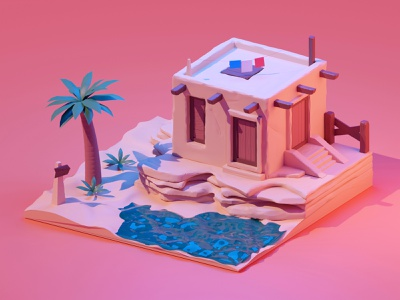 Oasis blender flag tree house architecture isometric isometry 3d