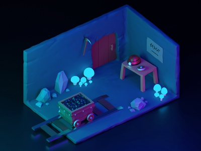 Mine onboarding low poly lowpoly 3d modeling mine blender 3d art 3d isometric illustration isometric art isometry