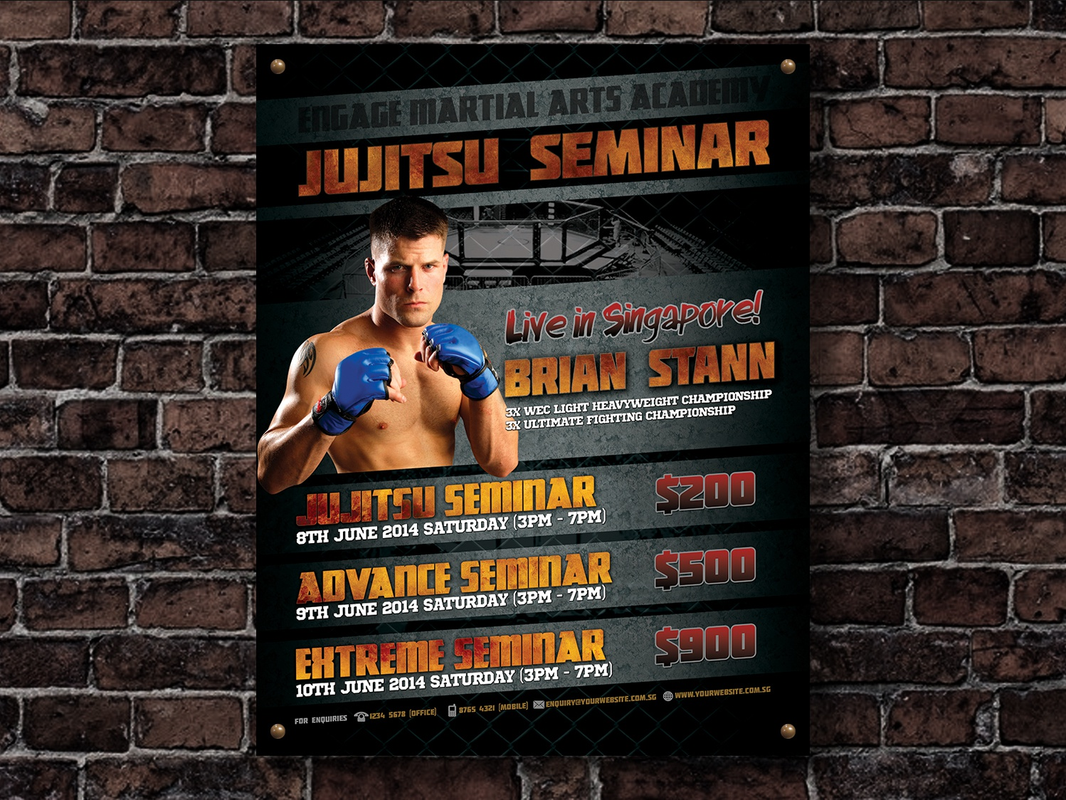 Flyer Design - MMA Seminar template flyer mma print poster design psd download fighter seminar event boxing