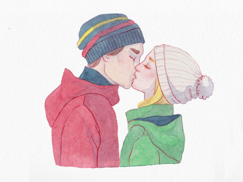 Kiss painting sweet sans love kiss watercolor illustration watercolor art watercolor traditional drawing traditional art art illustration
