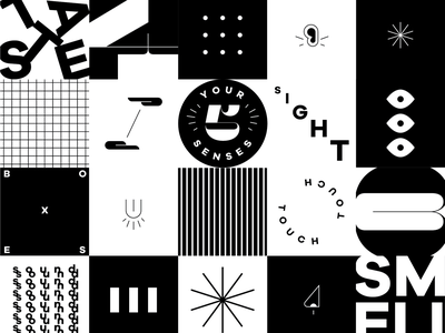 Your 5 Senses black and white layout vector drawing iconset icon branding typography design illustration adobe illustrator