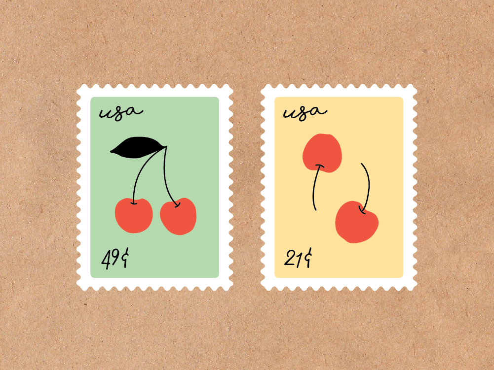 Cherry Stamps stamp fruit cherries cherry adobe illustrator illustrator design illustration