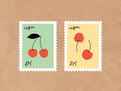 Cherry Stamps stamp fruit cherries cherry adobe illustrator illustrator design illustration