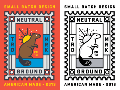 Neutral Ground Stamp badge beaver sun type logo mark