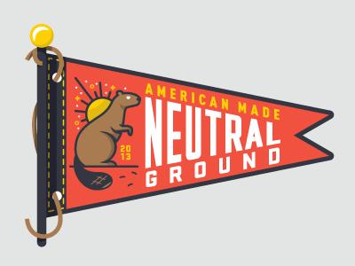 Neutral Ground Banner illustration beaver badge flag american logo
