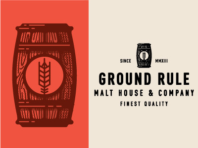 Ground Rule Comps company house malt logo beer illustration type branding