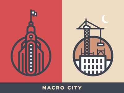 Macro City Mark moon crane skysrapper city mark logo