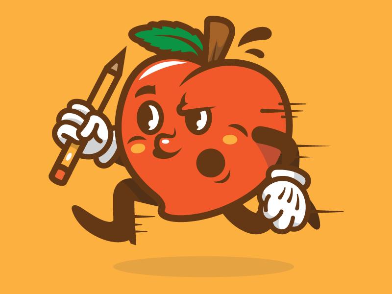 Fuzz the Peach peach pencil illustration running creative south