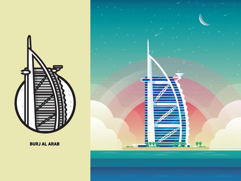 Burj Al Arab middle east skycrapper city icons illustration beach mark
