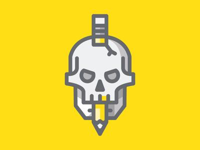 Skull skull strokes lines skill pencil mark logo illustration