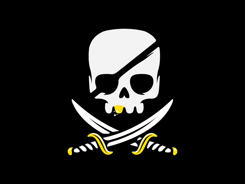 Golden Tooth Pirate Skull Logo
