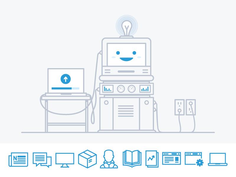 Human & Icons icons illustration computer smile upload