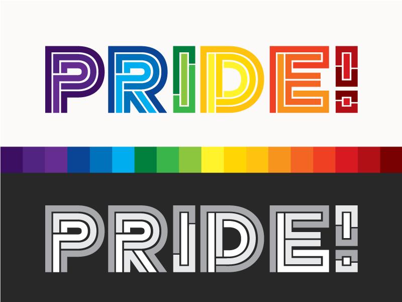 Pride gay pride rainbow logo type