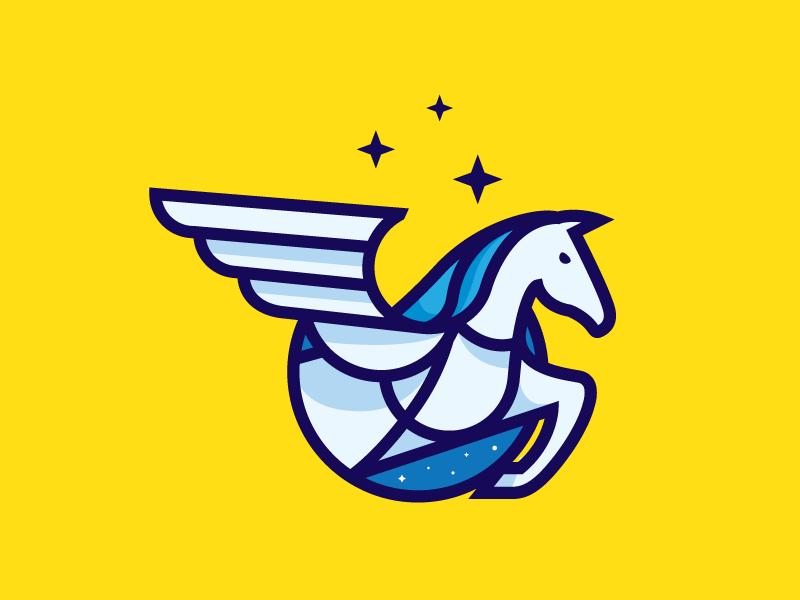 Pegasus wings illustration horse logo mark