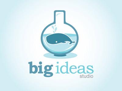 Big Ideas whale big ideas glass bottle illustration logo branding identity blue big fish in a little pond