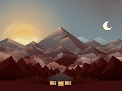 Mountains landscape dribbble meetup illustration mountains landing page footer sun moon clouds