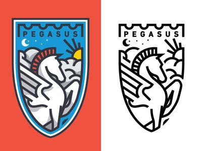 Pegasus pegasus sun clouds mark illustration logo