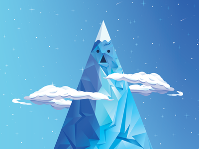 Ice Kingdom castle kingdom landscape adventure time mountains clouds illustration ice king stars night