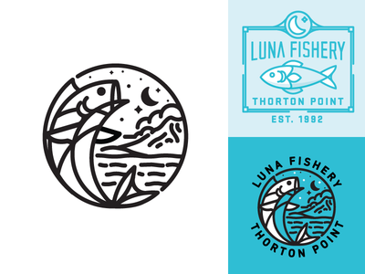 Luna Fishery fish illustration mark moon market water lake logo badge sign type