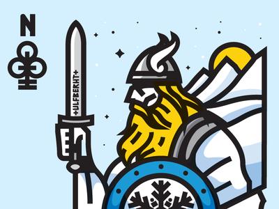 Nordic King card nordic god thor mountains illustration axe type badge mark