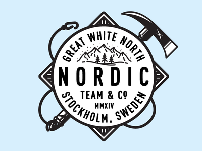 Nordic north mountains illustration axe type badge mark