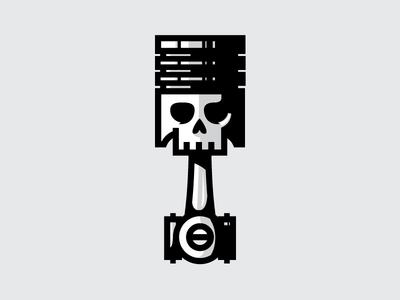 Skull Piston icon illustration mark skull piston hot rod motor