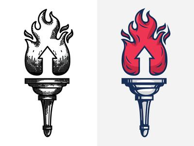 Torch Marks torch flame handle mark logo illustration