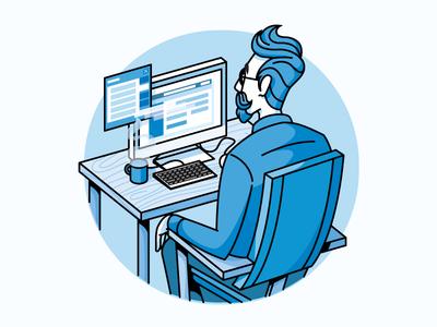 Create computer illustration man mustache coffee desk forums