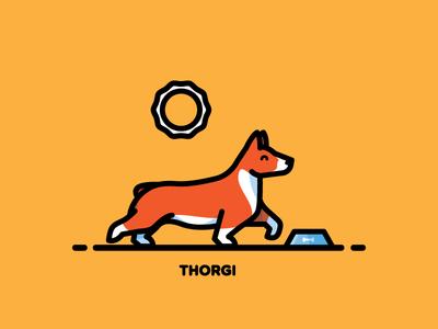 Corgi dog thor illustration sun food pet corgi