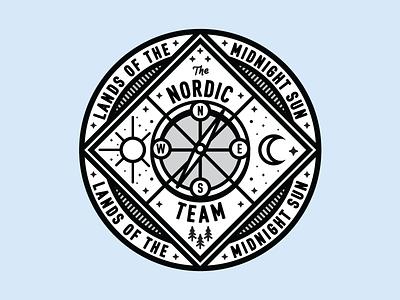 Nordic Compass Badge badge type compass moon north travel illustration logo