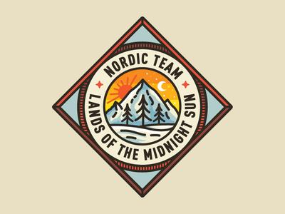 Nordic Retro illustration badge mountains type logo crest trees winter skiing retro sun moon