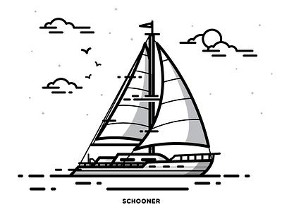Boat sailing sail ocean water vessel ship illustration boat