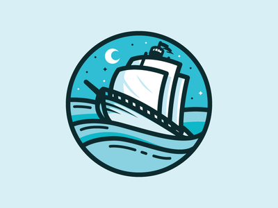 Boat boat nautical ship vessel sails mark logo ocean water moon icon brand
