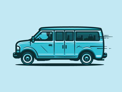 Van illustration van line art shuttle bus