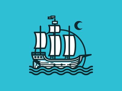 Boat illustration moon water nautical boat ship sea ocean pirate captain logo mark