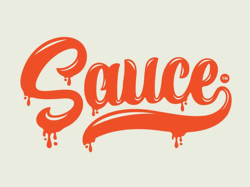 Sauce type logo brand sauce sweet tomato syrup letters script lettering