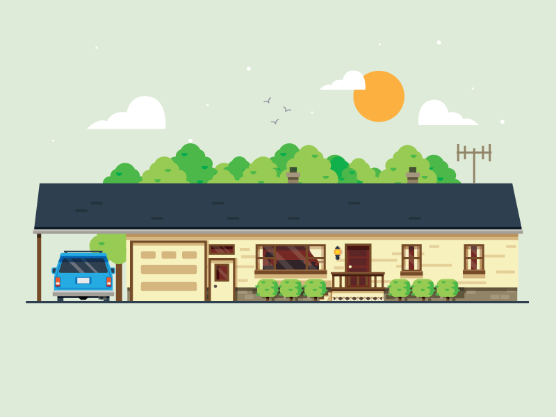 Old House on Ridge Road  clouds garage car trees sun illustration building home house