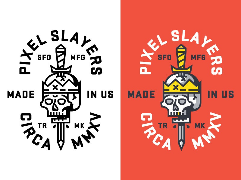 Pixel Slayer mark badge gold tooth sword skull logo
