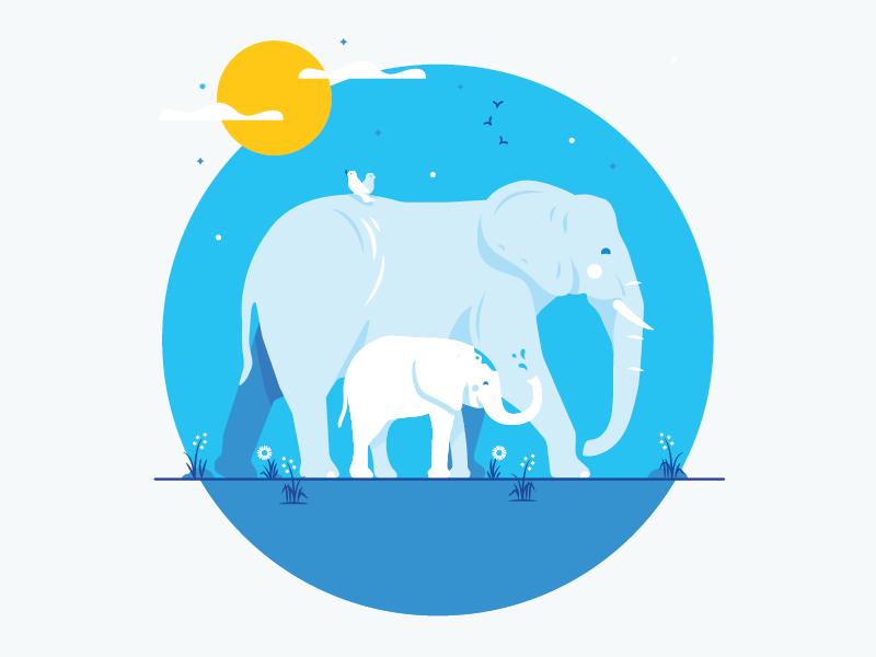 Philanthropy: Stop Ivory Trafficking  sun calf mother illustration elephant