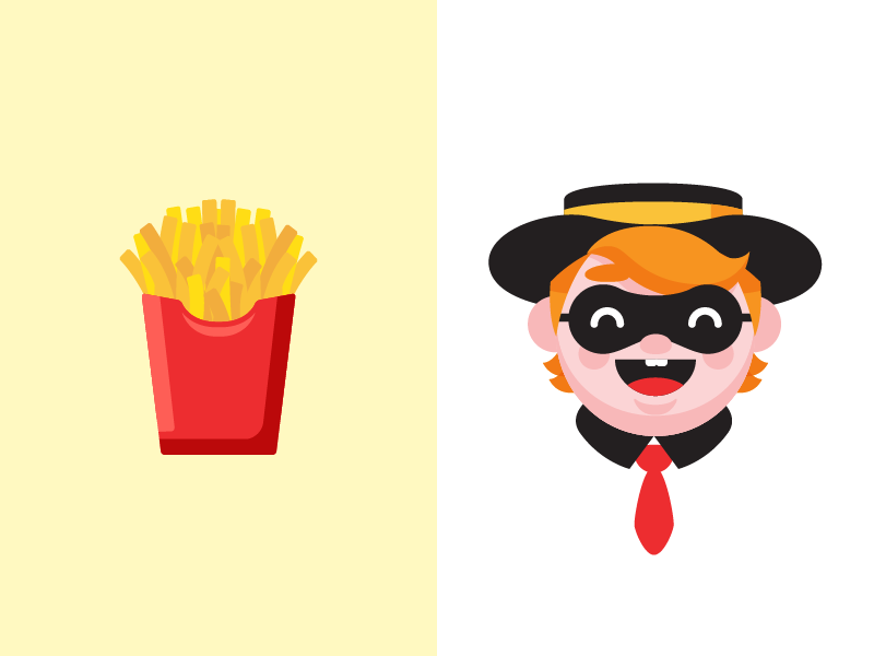 Burger boy and fries emoji illustration robber food fast hamburger fries mcdonals