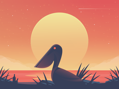Pelican bird landscape airstream illustration sun beach pelican